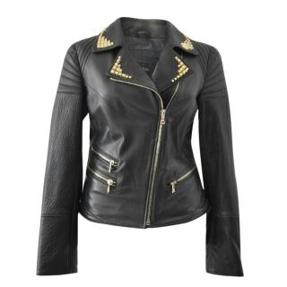 Intuition Paris Studded Leather Jacket