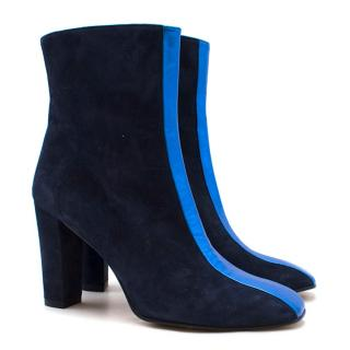 Penelope Chilvers Navy Suede & Metallic Heeled Ankle Boots