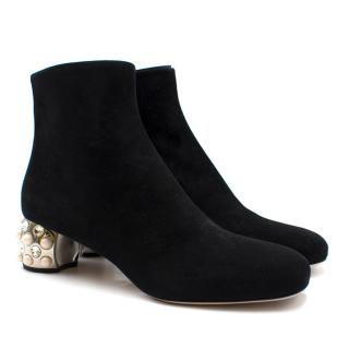 Mui Mui Faux Pearl & Crystal Heeled Suede Ankle Boots