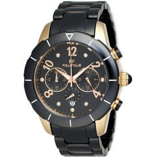 Folli Follies chrono black & rose gold bracelet watch