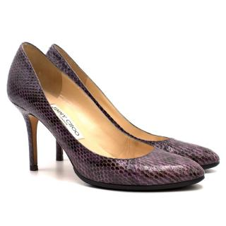 Jimmy Choo Purple Snakeskin Heeled Pumps