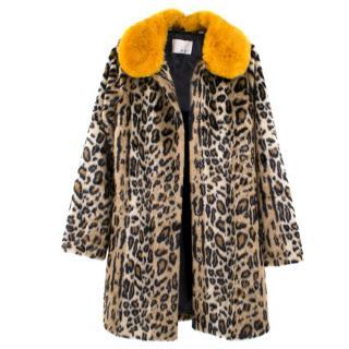 Oui Contrast Collar Faux Fur Leopard Print Coat