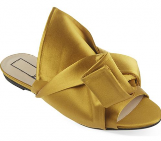 No 21 Mustard Satin Bow Slippers