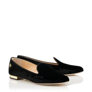 Charlotte Olympia Nocturnal Velvet Flats Black Loafers