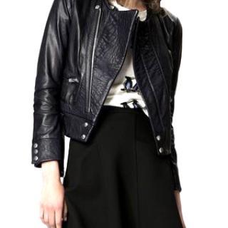 Maje Dark Blue Gangster Leather Jacket