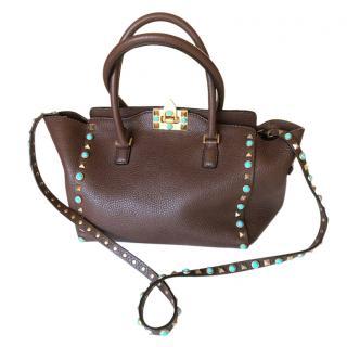 Valentino Rockstud Rolling Mini Leather Tote Bag