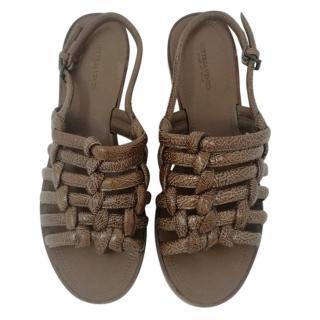 Bottega Veneta brown leather sandals