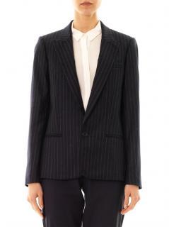 Vanessa Bruno Navy Pinstripe Wool Tailored Jacket