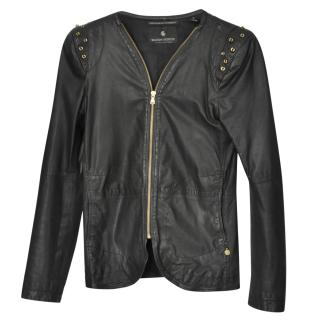 Maison Scotch Leather Studded Jacket