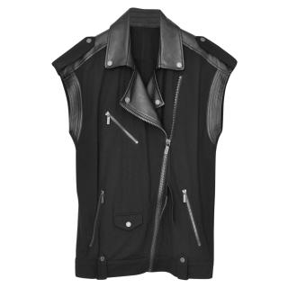Karl Lagerfeld faux leather and stretch-jersey biker vest