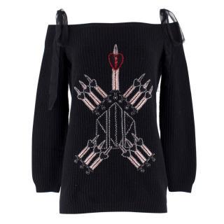 Valentino Love Blades Off-Shoulder Cashmere Blend Jumper