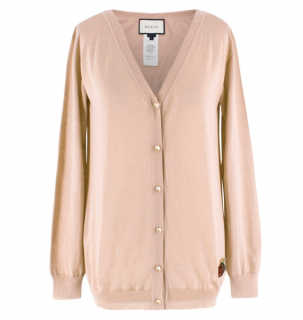 Gucci Beige Cashmere and Silk Strawberry Embroidered Cardigan
