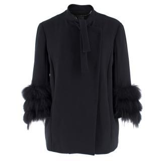 Tru Trussadi Black Fur Cuffed Jacket