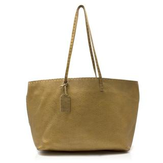 Fendi Gold Metallic Leather Shoulder Tote