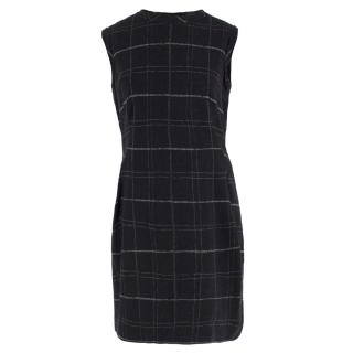 Lanvin Wool-blend Sleeveless Grid Print Dress
