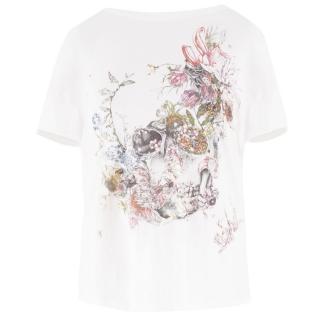 Alexander McQueen White Skull Floral T Shirt