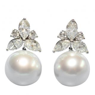 Bespoke 5ct Marquise Cut Diamond & South Sea Pearl Earrings