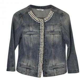 Liu Jo pearl embelished denim jacket