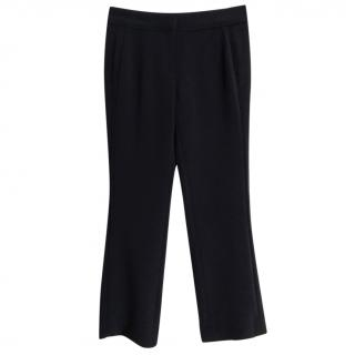 Tory Burch navy blue straight leg ankle crop trousers