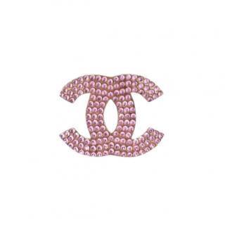 Chanel CC Crystal Pink & Gold Brooch
