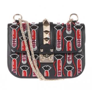 Valentino Lipstick Waves embroidered small Lock bag