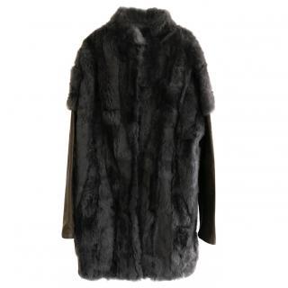 34 White Grey Rabbit Fur & Vintaged Leather Coat