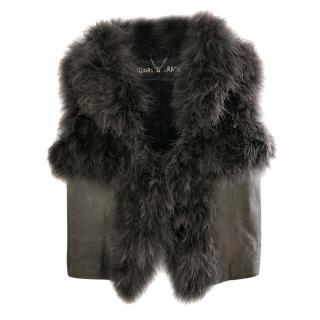 Giorgio Brato Grey Feather & Vintaged Leather Jacket