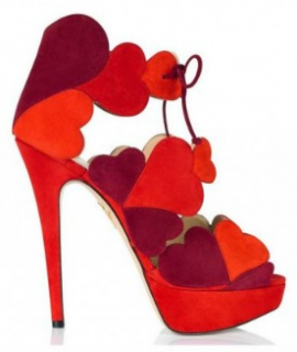Charlotte Olympia Suede Lace-up Heart Sandals