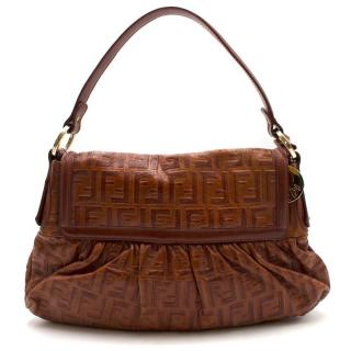 Fendi Brown Leather Monogram Shoulder Bag