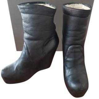 Rick Owens Shearling Pull On Boots