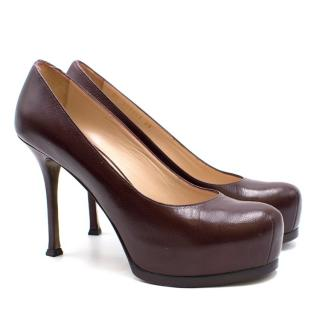 Yves Saint Laurent Burgandy Leather Tribute Pumps