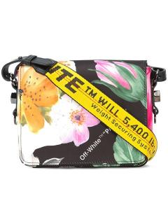 Off White Floral Binder Clip Bag