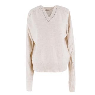 Celine X Phoebe Philo Wool & Alpaca Blend V-neck Sweater