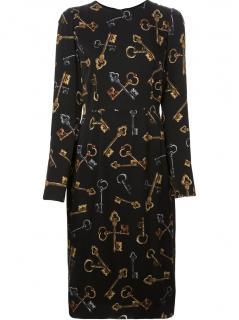 Dolce & Gabbana key print silk midi dress