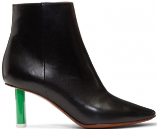 Vetements black leather boots with green heel
