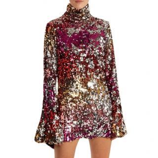Halpern metallic multi coloured sequin embellished mini dress