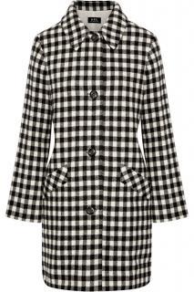 A.P.C. Checked Wool-Blend Felt Coat