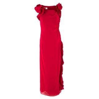 Valentino Red Silk Ruffled Maxi Gown