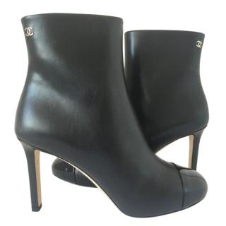 Chanel Black Leather Ankle Booties