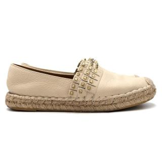 Valentino Cream Rockstud Studded Leather Espadrilles