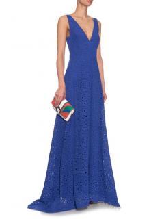 Osman Lara �1K Cobalt Broderie Anglais Maxi Gown Dress NWT