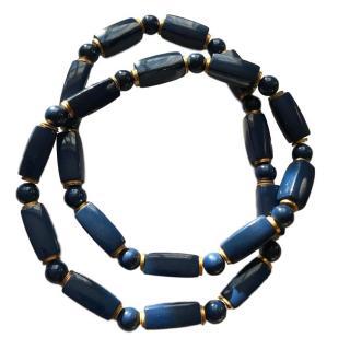 YSL Vintage Cobalt & Gold Necklace