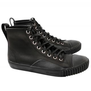 Balenciaga  Black Leather Rubber Sole High Top Sneakers NWB