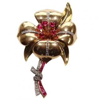 Bespoke Pink Gold & Diamonds Vintage Camelia Flower brooch Pin