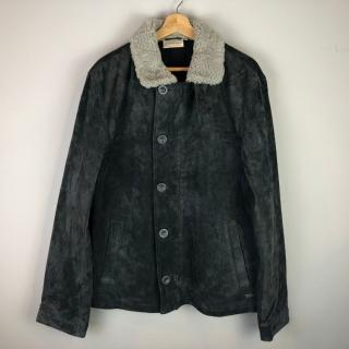 DKNY Suede & Shearling Leather Car Coat