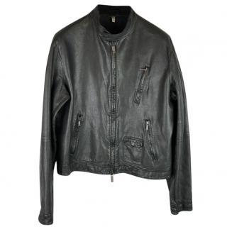 Armani Jeans Cafe Racer Leather Biker Jacket