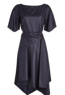 Tara Jarmon waist-tie navy blue pinstripe dress
