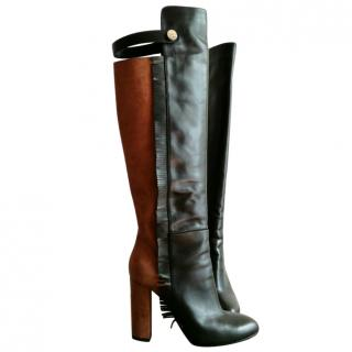 Elisabetta Franchi leather and suede color block boots
