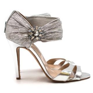 Oscar de la Renta Silver Metallic Stiletto Sandals