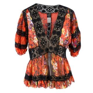 John Paul Gaultier Floral Silk & Lace V-neck Top